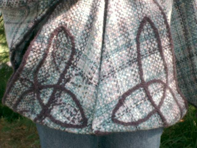 Close-up of the Celtic loops on the front
