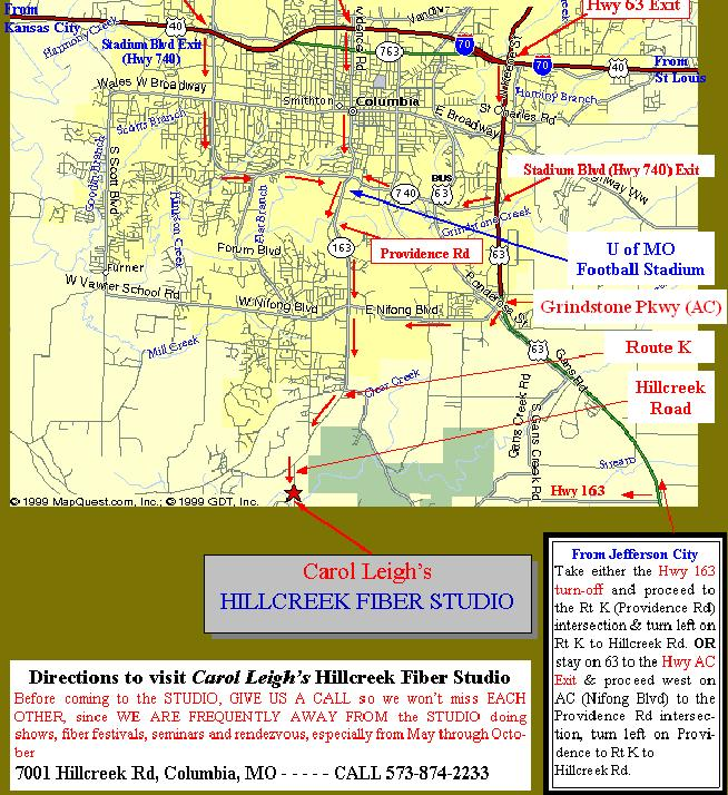 Map to Hillcreek Fiber Studio