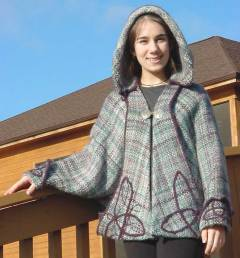 "Carol Leigh's unique ""Celtic Mist"" Tri-Loom woven Jacket. Click on this image to go to more ""Celtic Mist Jacket"" pictures"