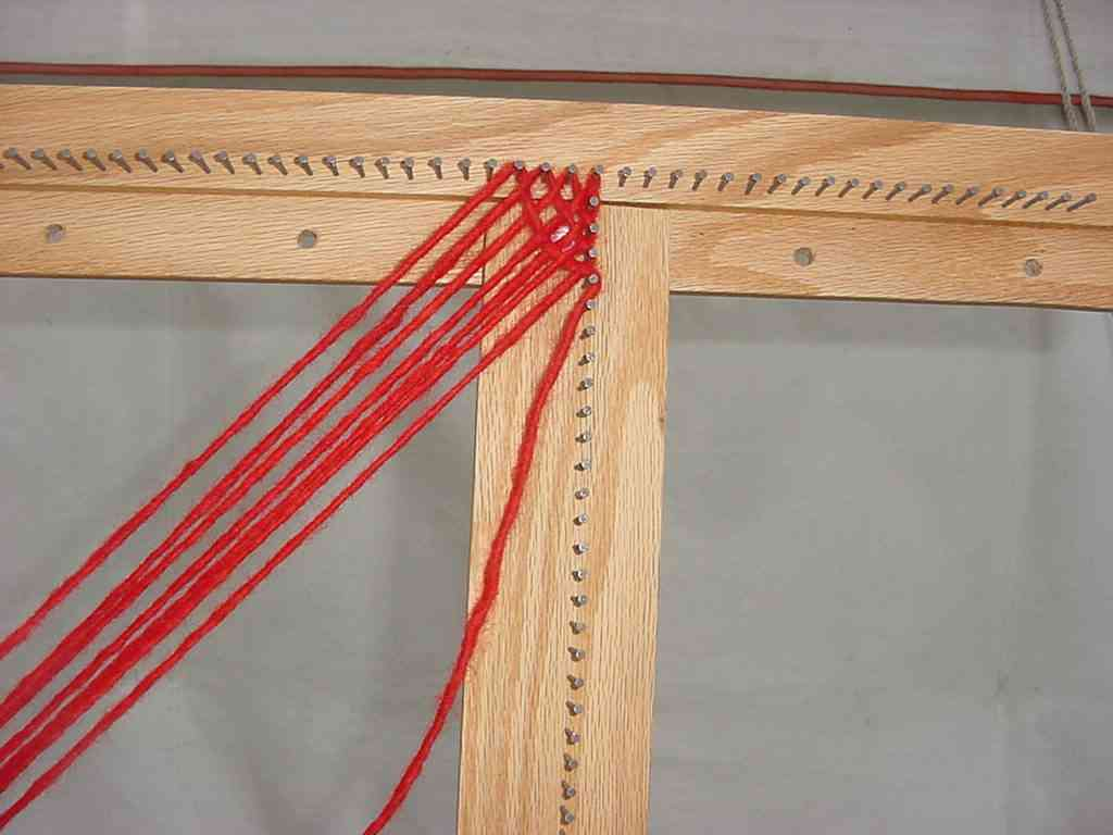 Beginning a weaving on the Spriggs 5-ft Adjustable Square Frame Loom