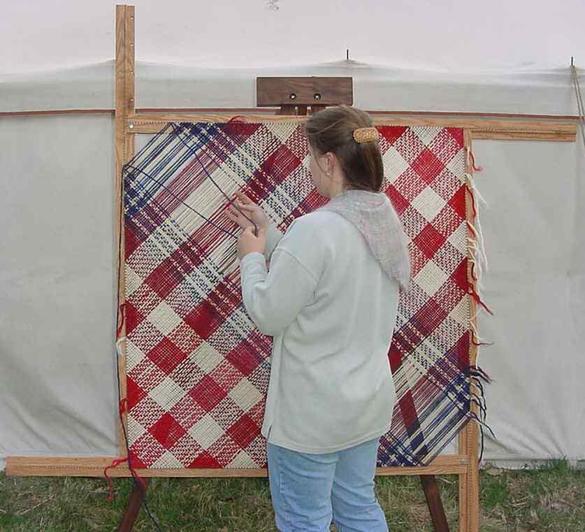 Rebecca Weaving on a Spriggs 5-ft Adjustable Square Frame Loom