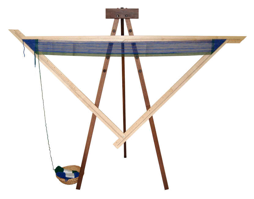 A Spriggs 7' Adjustable Triangle Frame Loom on a folding tripod Tri-Loom Stand. Click for larger images and more information.